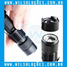 Mini Lanterna Violeta Luz UV 395 - LED Alumínio AA ou 14500