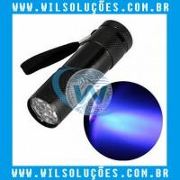 Mini Lanterna UV LED Aluminum AAA 9LED