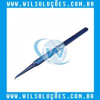 Pinça de Titânio original Curvada Antiestática Azul