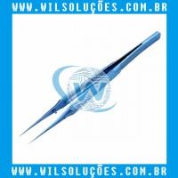 Pinça de Titânio original Reta  Antiestática Azul