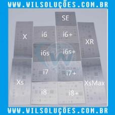 Kit Stencil 13 Peças iPhone  SE / 6 / 6 Plus / 6s / 6s Plus / 7 / 7 Plus / 8 / 8 Plus / X / Xs / Xs Max / Xr