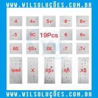 Kit Stencil 19 Peças iPhones e Ipad iPhone 4 / 4s / 5 / 5C / 5 s / 5 SE / 6 / 6 Plus / 6s / 6s Plus / 7 / 7 Plus / 8 / 8 Plus / X / Xs / Xs Max / Xr / Ipad