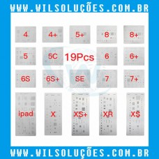 Kit Stencil 19 Peças iPhones e Ipad iPhone 4 / 4s / 5 / 5C / 5 s / 5 SE / 6 / 6 Plus / 6s / 6s Plus / 7 / 7 Plus / 8 / 8 Plus / X / Xs / Xs Max / Xr / Ipad