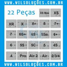Kit Stencil 22 Peças iPhones e Ipad iPhone 4 / 4s / 5 / 5C / 5 s / 5 SE / 6 / 6 Plus / 6s / 6s Plus / 7 / 7 Plus / 8 / 8 Plus / X / Xs / Xs Max / Xr / Ipad