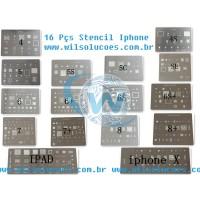 Kit Stencil Iphone X/8/7/6s/6/SE/5S/5C/5/4S/4/iPad 16 pçs