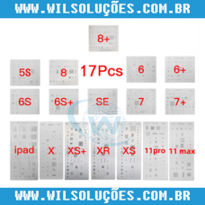 Kit Stencil 17 Peças iPhones e Ipad iPhone  5s / SE / 6 / 6Plus / 6s / 6sPlus / 7 / 7 Plus / 8 / 8 Plus / X / Xs / Xs Max / Xr / 11 Max / 11 Pro / Ipad